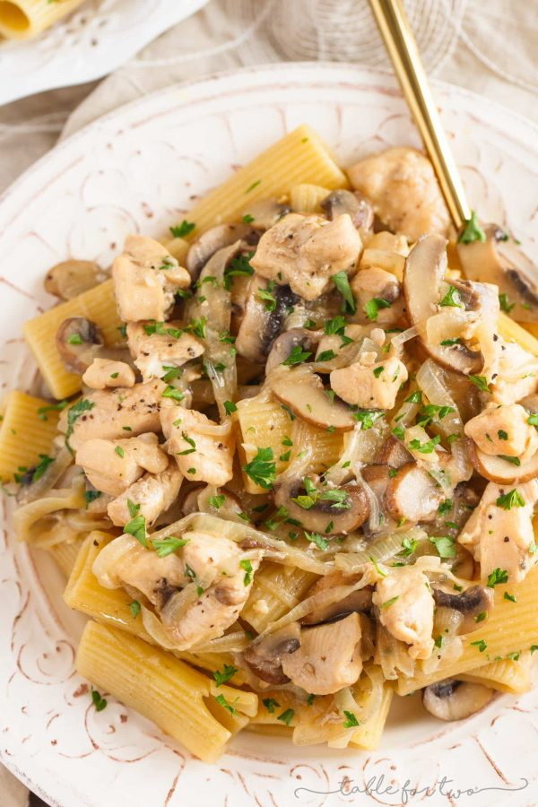 This marsala chicken rigatoni and mushroom pasta is pure comfort food. Filled with flavorful ingredients and a creamy marsala wine sauce coated on every inch of pasta, you will love every bite!