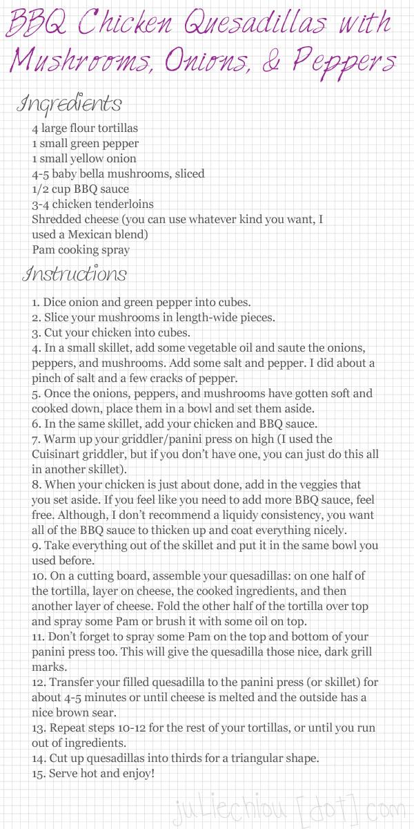 bbq chicken quesadilla recipe