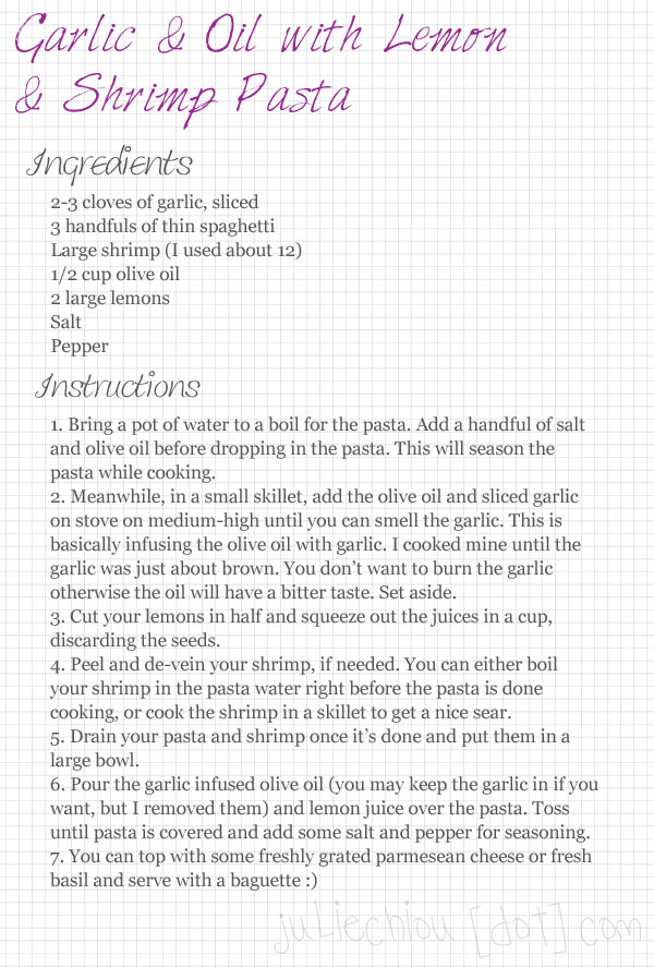 garlic lemon shrimp pasta recipe