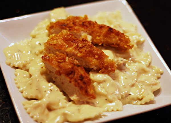 crunchy chicken with creamy italian sauce & bowtie pasta - Table for ...