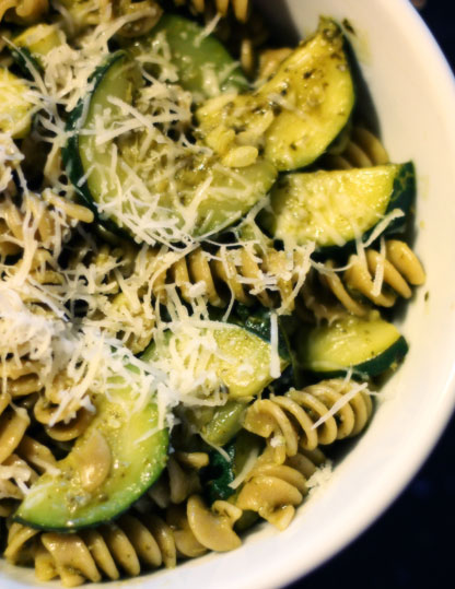 Basil Lemon Pesto Pasta With Zucchini Table For Two 174 By