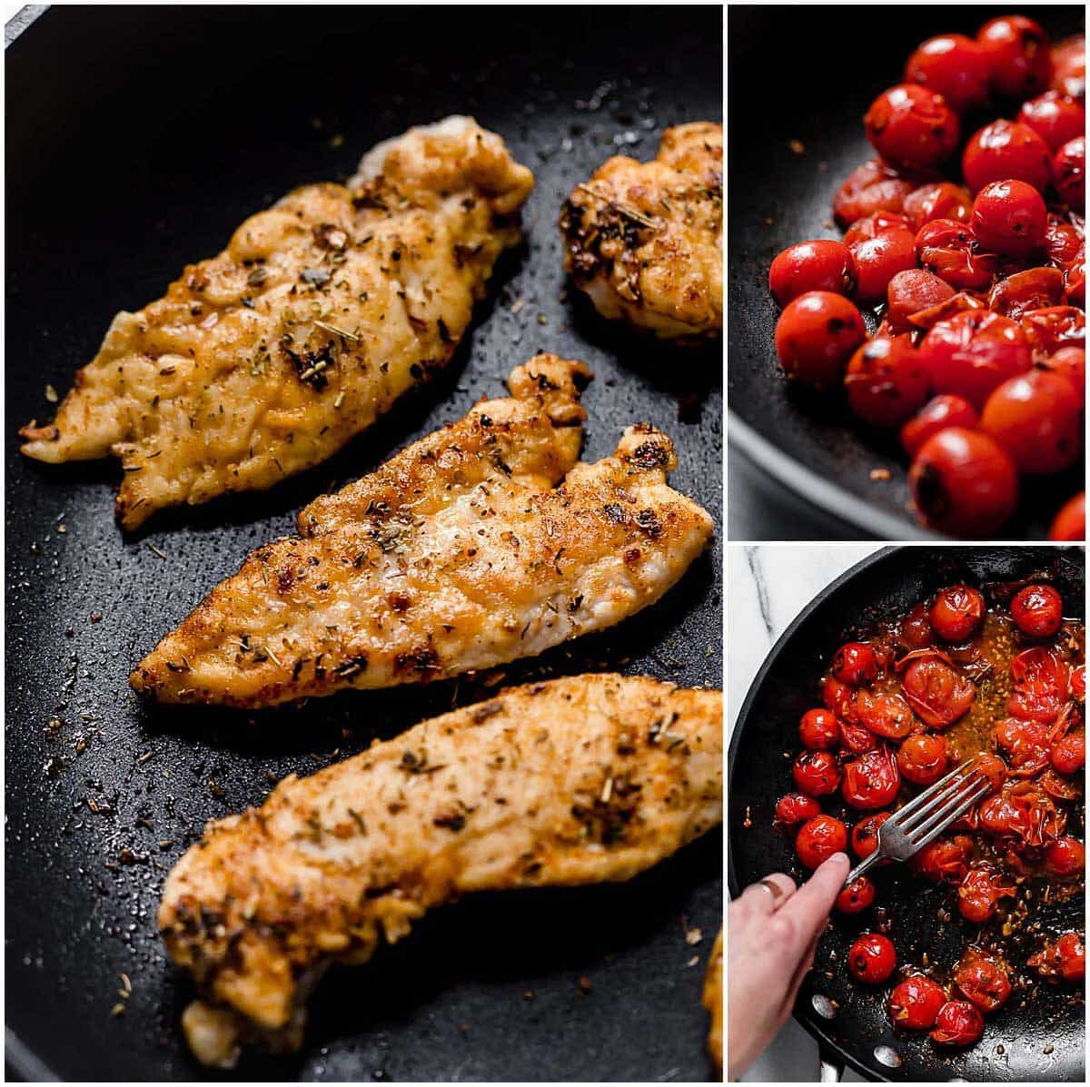 The tomato herb pan sauce is the most delicious sauce atop this chicken! The herbs, fresh tomatoes, and the juicy chicken are a great trio that you'll want on your dinner table tonight!