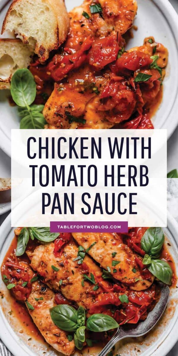 The tomato herb pan sauce is the most delicious sauce atop this chicken! The herbs, fresh tomatoes, and the juicy chicken are a great trio that you'll want on your dinner table tonight! #chicken #chickenrecipe #tomatoes #heirloomtomatoes #tomatorecipe #herbpansauce #herbsauce #buttersauce