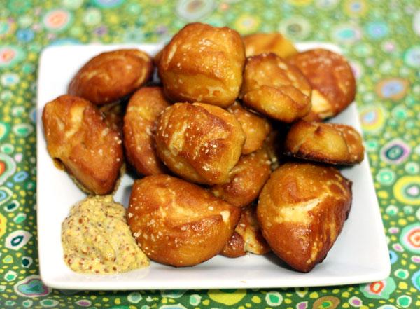 homemade soft pretzel bites - Table for