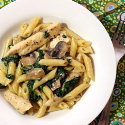 spinach mushroom mascarpone pasta