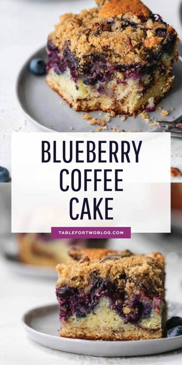 This blueberry coffee cake is tender, moist, and bursting with fresh summer blueberries! The perfect pairing with your coffee or afternoon tea! #blueberries #blueberry #blueberryrecipe #coffeecake #cakerecipe