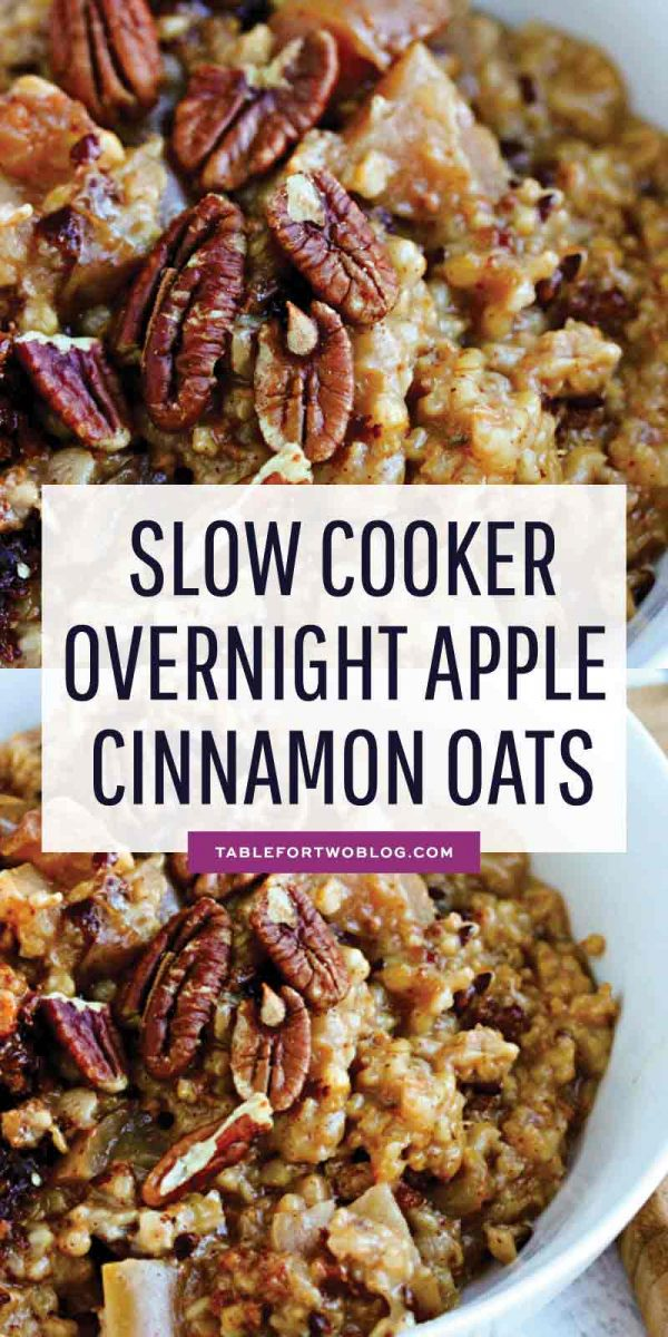 Throw the ingredients in your slow cooker before bed and you'll have warm overnight apple cinnamon oats ready when you wake up! #overnightoats #oats #overnightoatsrecipe #porridge #slowcookerrecipe