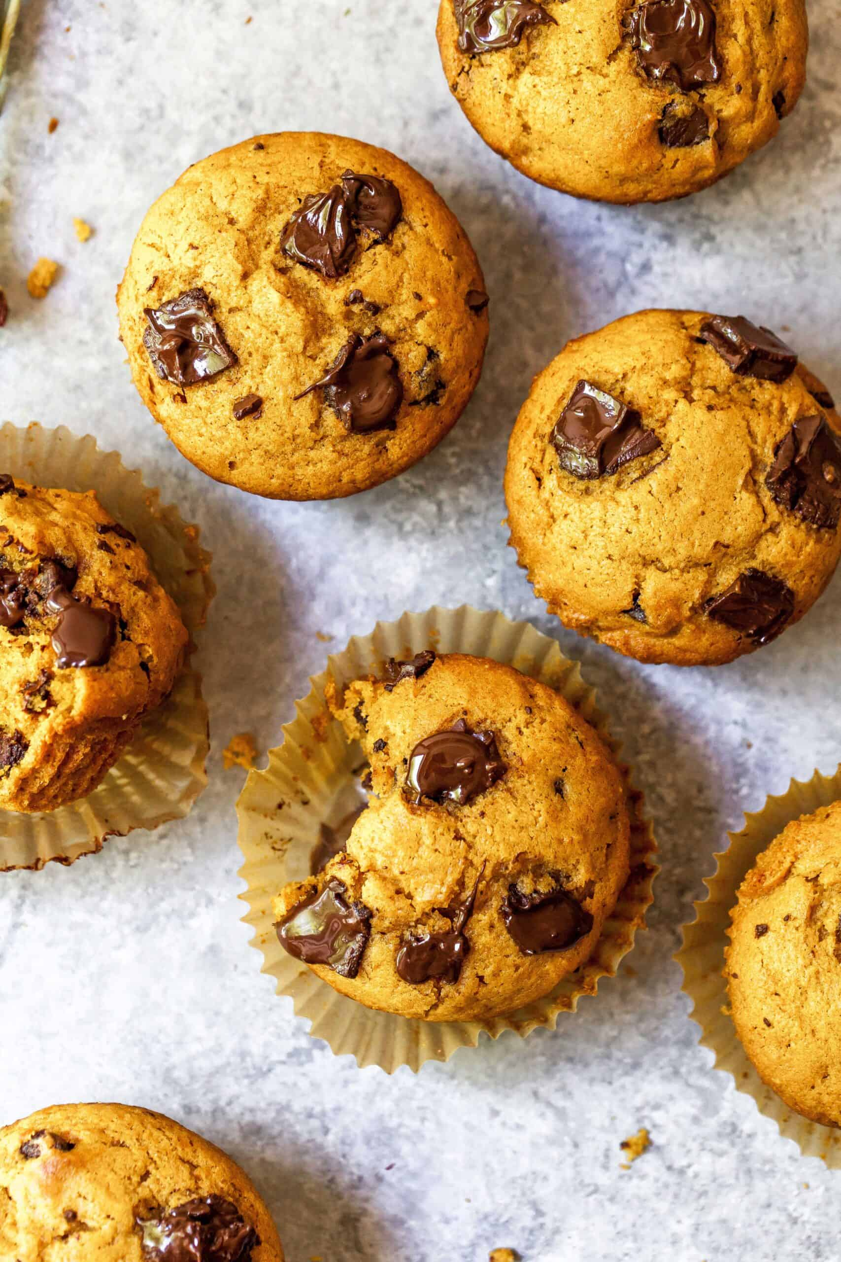 Overhead shot of pumpkin spice chocolate chunk muffins, with bite taken out of one