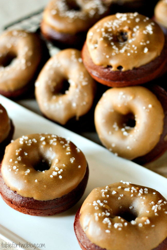 Chocolate Donuts with Salted Caramel Icing Table for Two by Julie