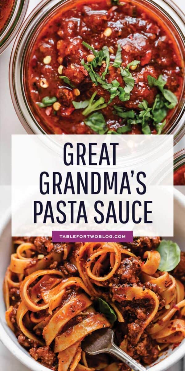 Great Grandma's Pasta Sauce has been passed down through the generations and it originated from my husband's Italian great great grandmother. It is the most delicious, rich, flavorful, pasta sauce I've ever had in my entire life and I can't wait for you to try it! #pastasauce #greatgrandma #bestpastasauce