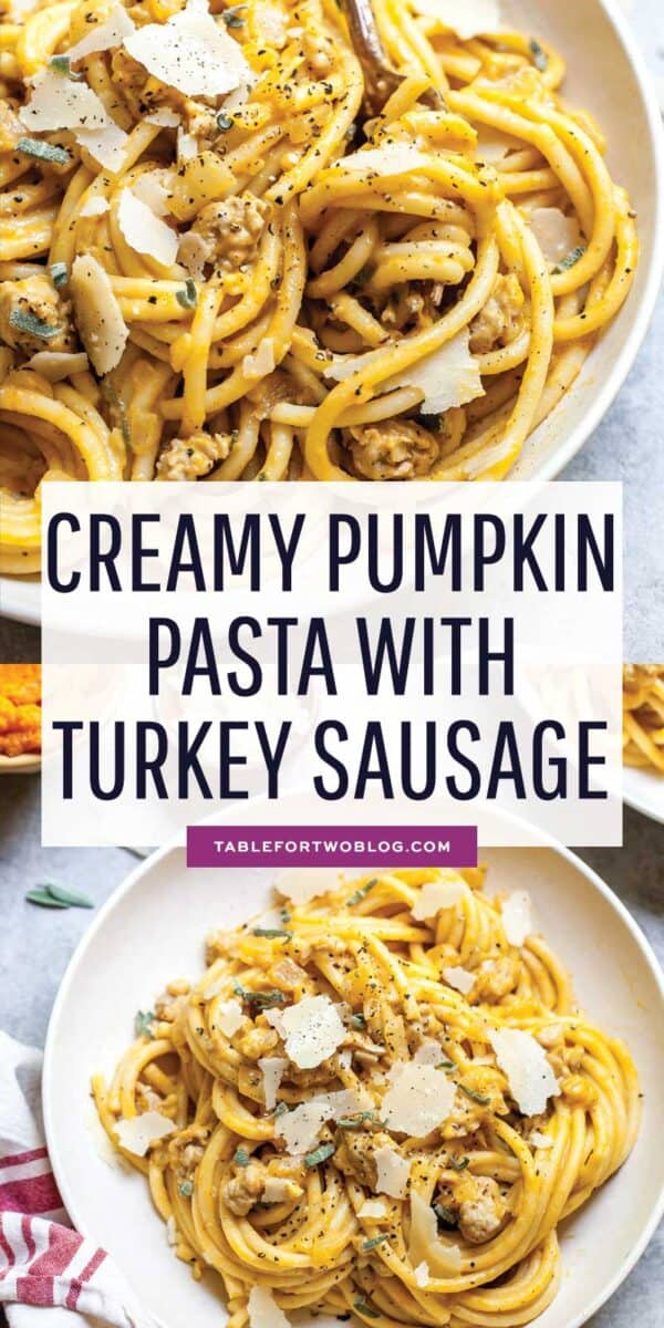 This creamy pumpkin pasta with turkey sausage is the coziest Fall pasta dish that needs your attention ASAP! #pumpkin #pumpkinrecipes #pumpkinpasta #pastarecipes #pumpkinseason