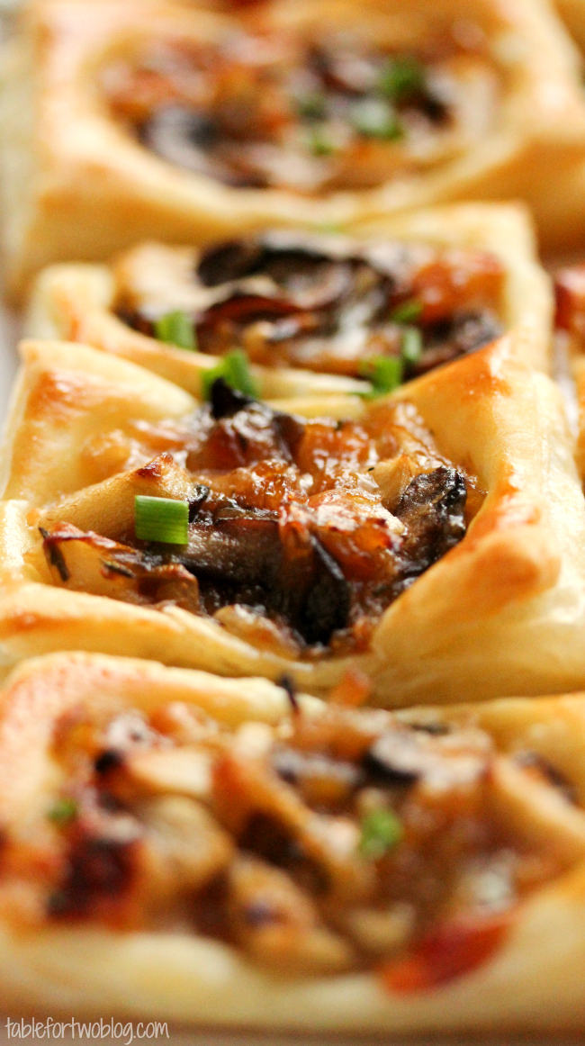 Caramelized Onion Mushroom Apple Gruyere Bites Table