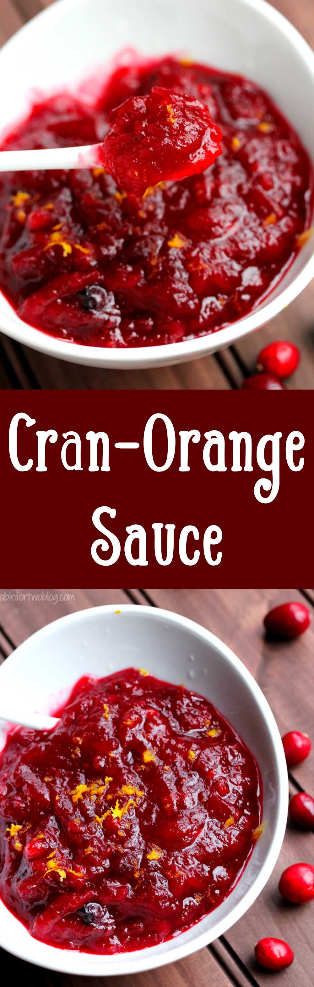 Why anyone would buy canned cranberry sauce is beyond me. You must try this cran-orange sauce as it's super easy to make and I love the contrasting flavors of cranberry and orange. It's a sweet and tart flavor that go very well together!