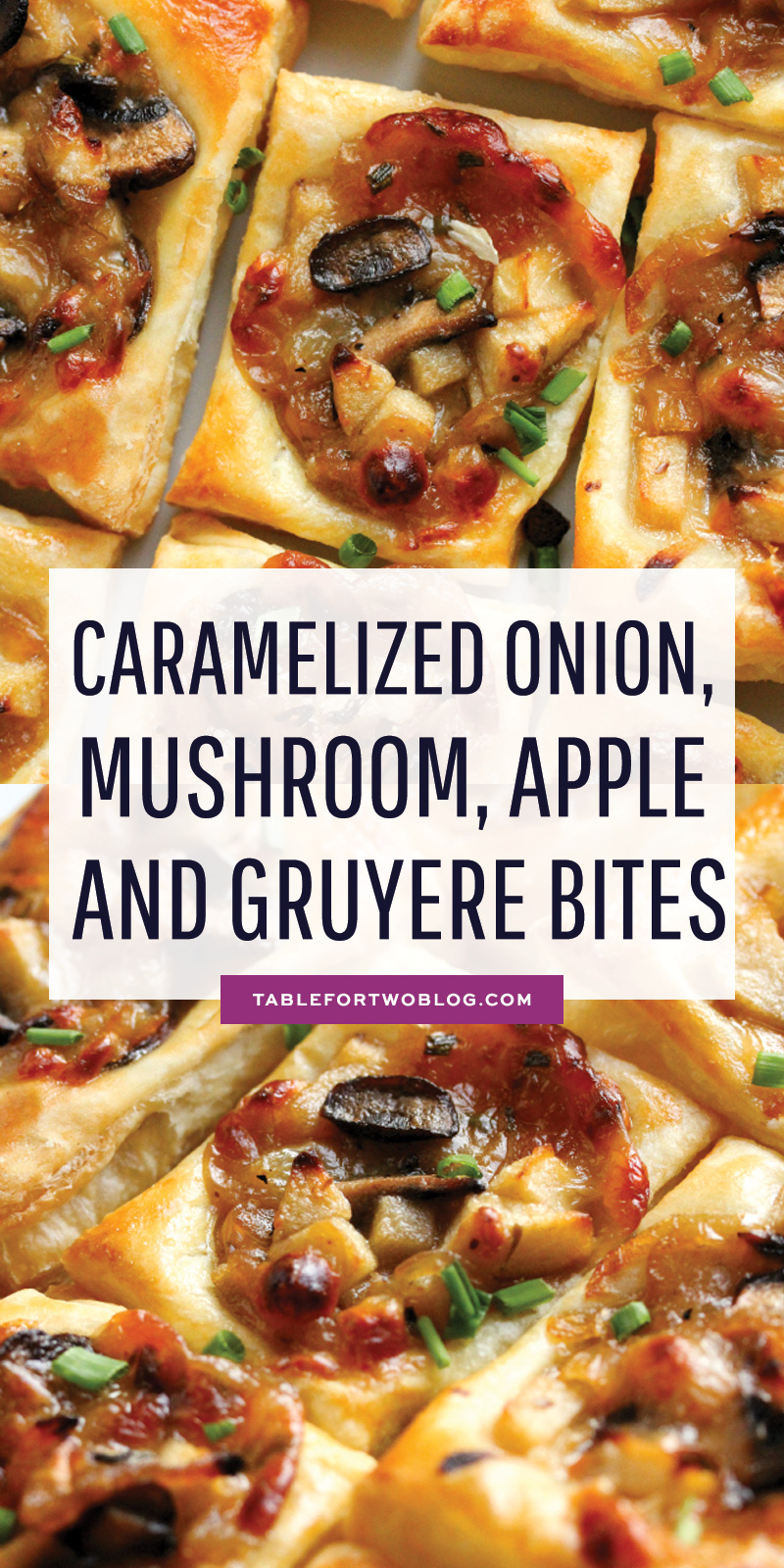 Caramelized Onion, Mushroom, Apple, and Gruyere Bites are the PERFECT appetizer! #thanksgivingappetizer #appetizers #thanksgivingrecipes #thanksgivingmenu #thanksgivingideas #appetizer #recipes