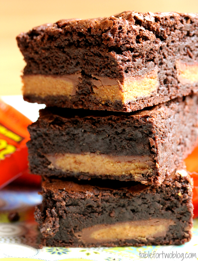 These Reese's Cup brownies are a great way to use up leftover Halloween candy. Or a great excuse to buy some candy.