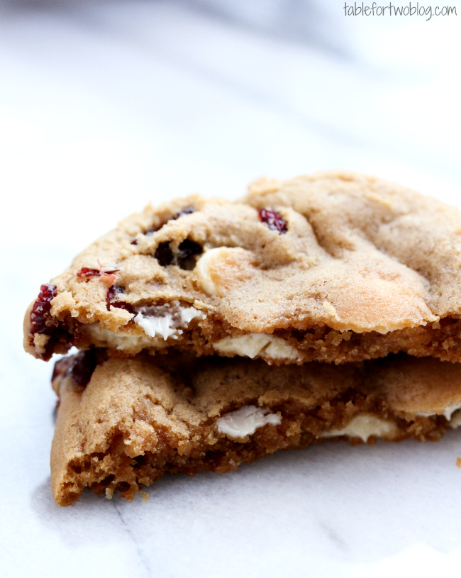 Cranberry white chocolate cookies are chewy on the inside and crunchy ...