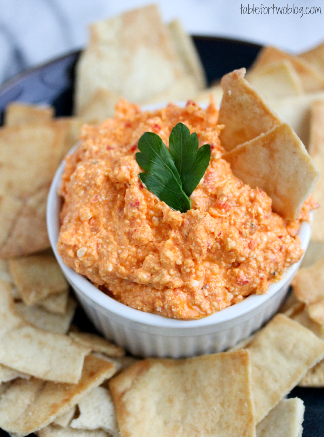 Greek inspired dip of whipped feta and roasted red peppers from ...