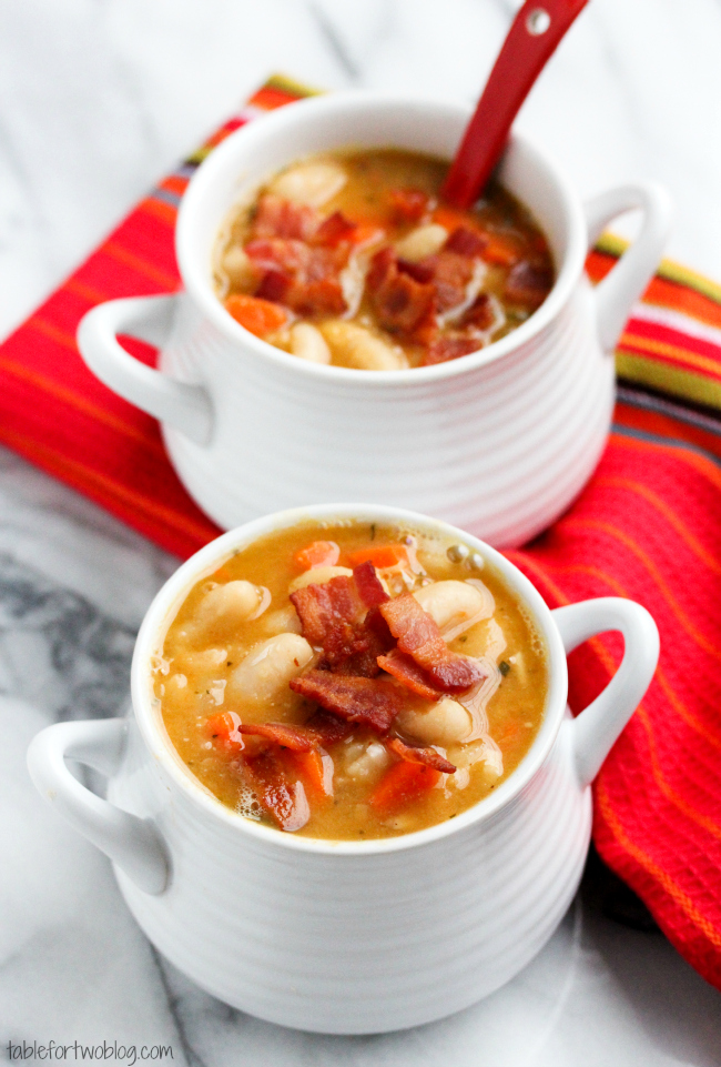 Creamy White Bean And Bacon Soup White Bean Soup With Bacon