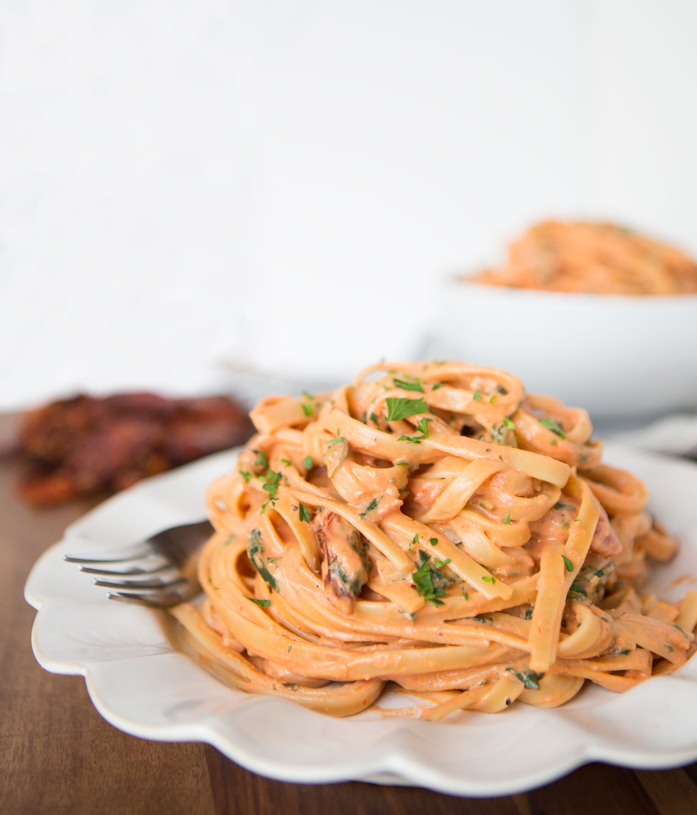 Creamy Sundried Tomato Fettuccine Table For Two By Julie Chiou