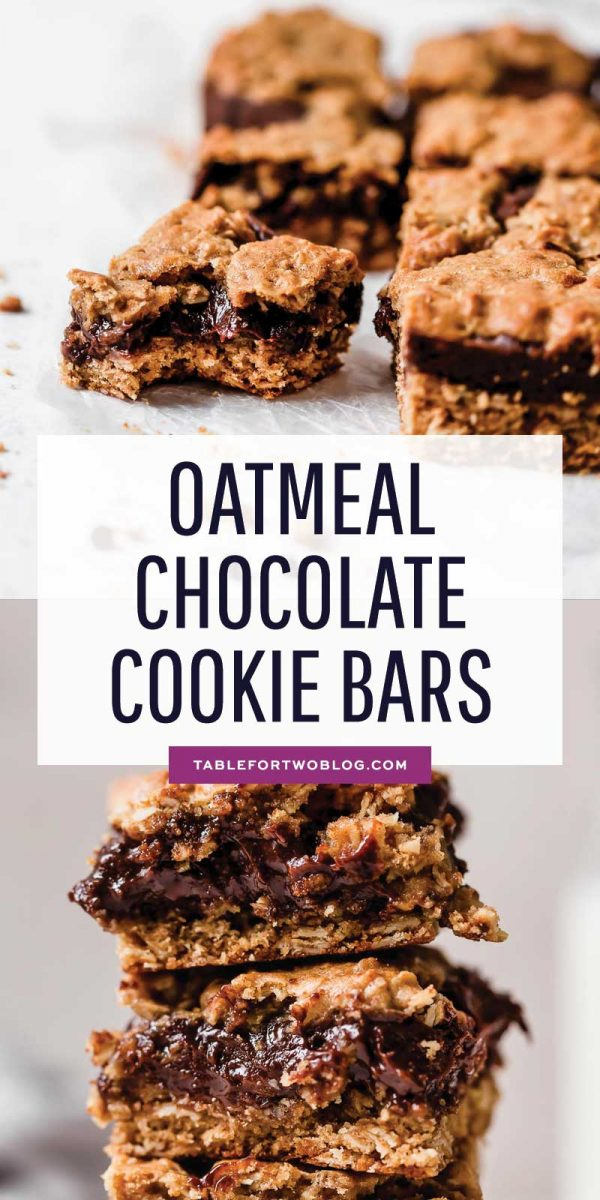 These oatmeal and chocolate cookie bars are a result of an oatmeal cookie having a baby with a chocolate cookie. So freaking good!! #oatmealchocolate #oatmealcookies #cookiebars #cookierecipe #chocolatecookie