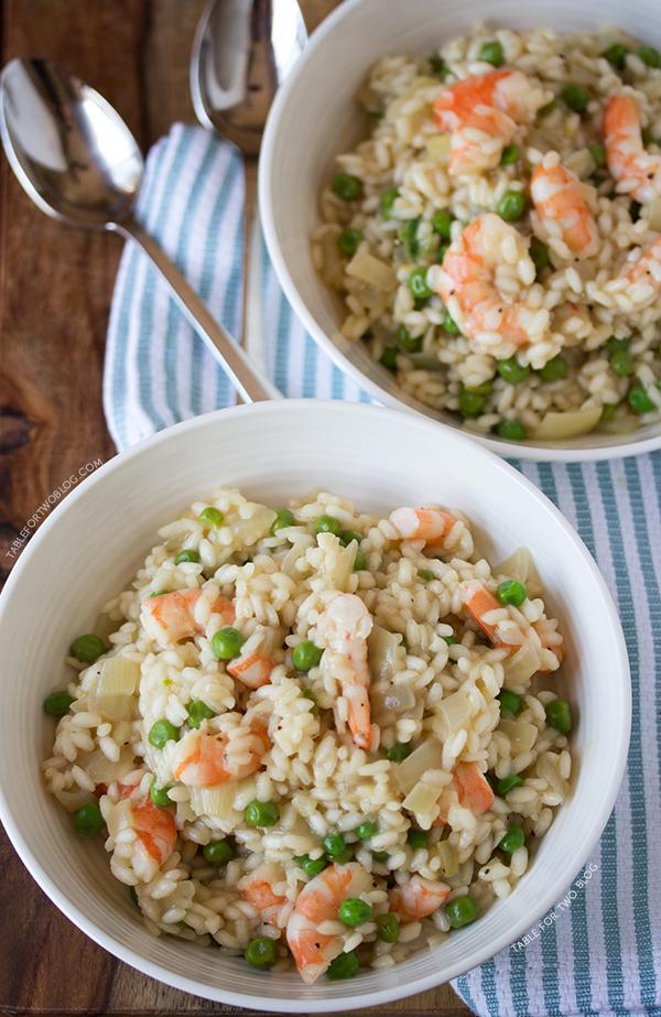 Shrimp and Pea Risotto   tablefortwoblog.com