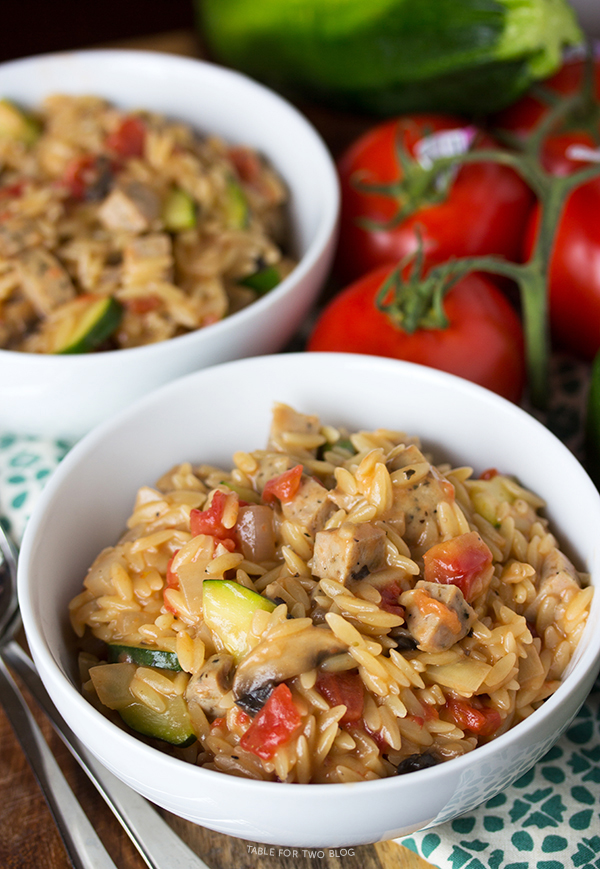 Creamy Orzo with Chicken Sausage | tablefortwoblog.com .....