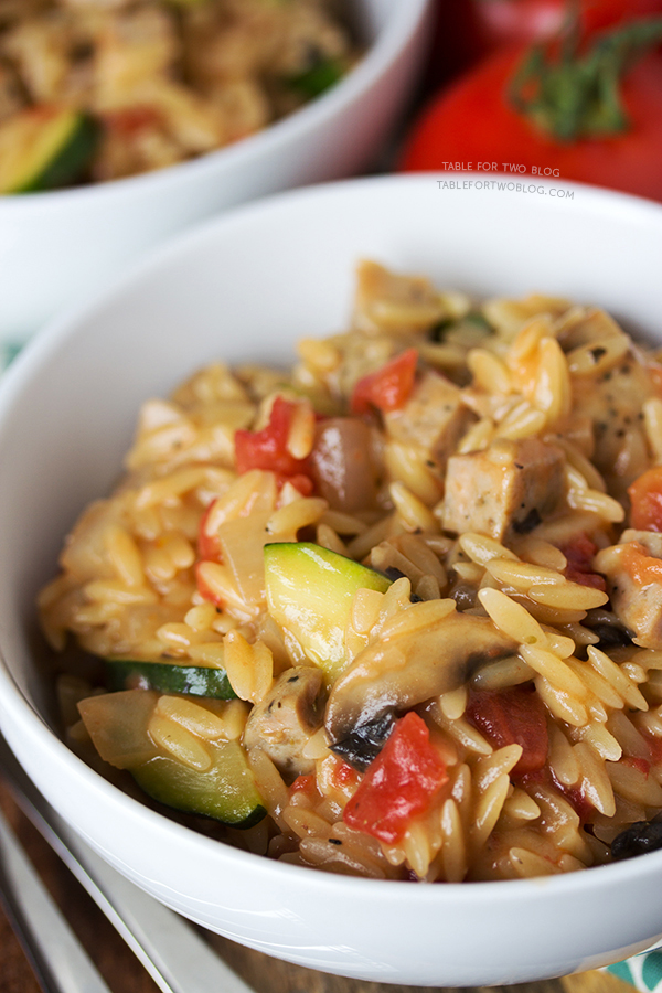 Creamy Orzo with Chicken Sausage | tablefortwoblog.com