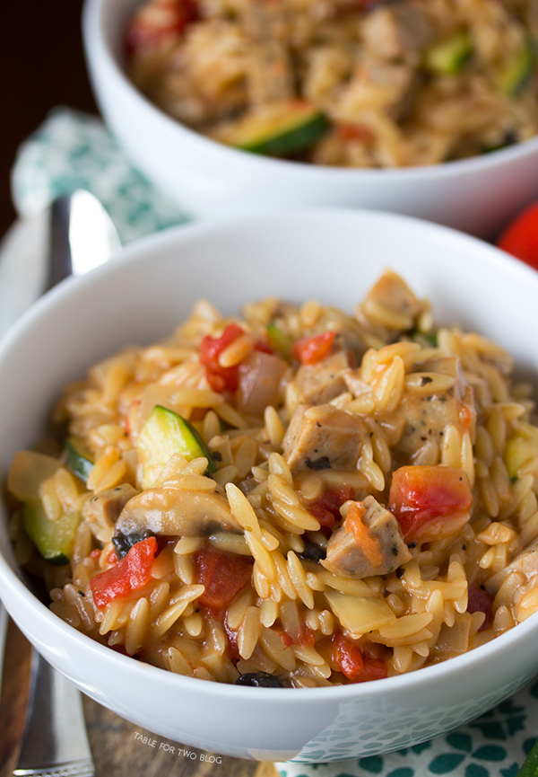 Creamy Orzo with Chicken Sausage | tablefortwoblog.com..