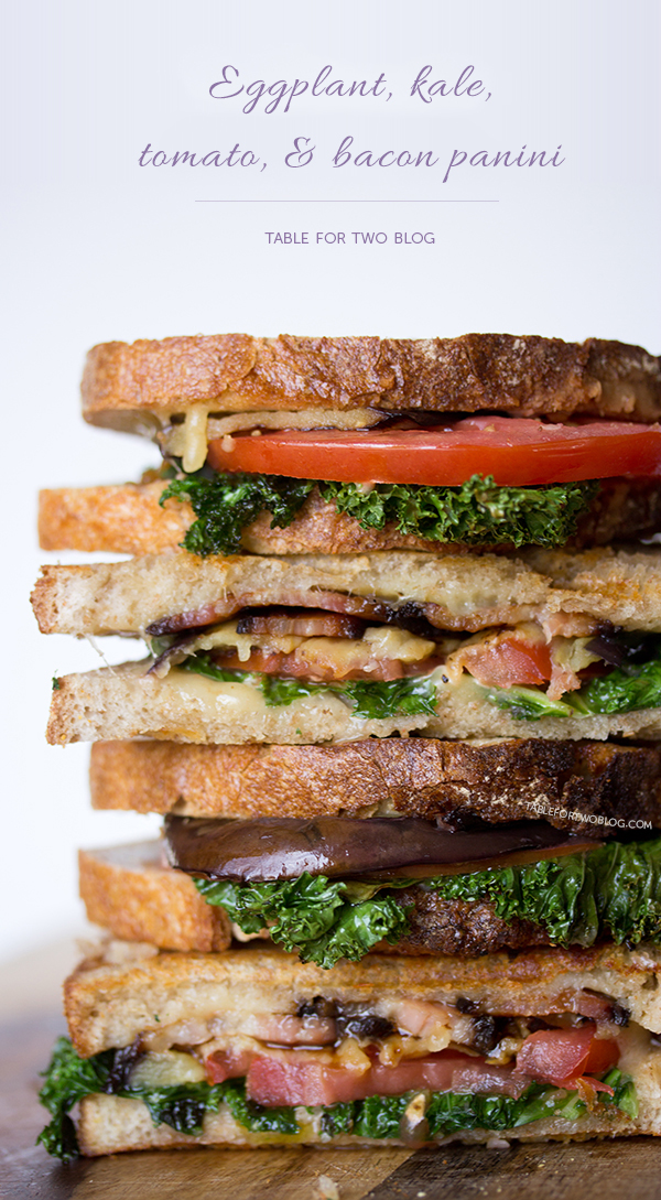 Eggplant, Kale, Tomato, & Bacon Panini - Table for Two®