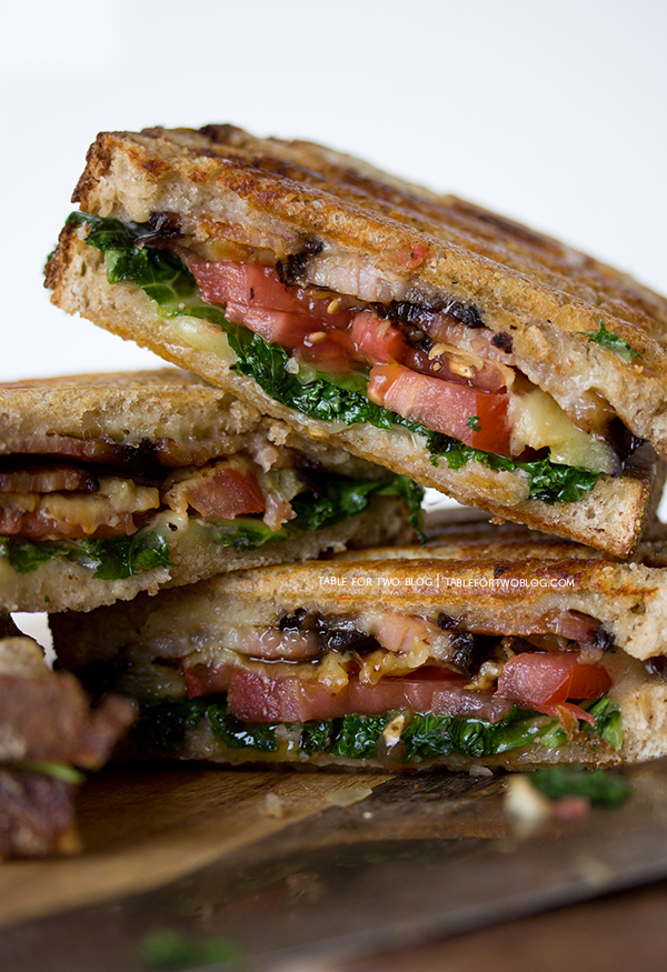 Eggplant, kale, tomato, and bacon panini | www.tablefortwoblog.com