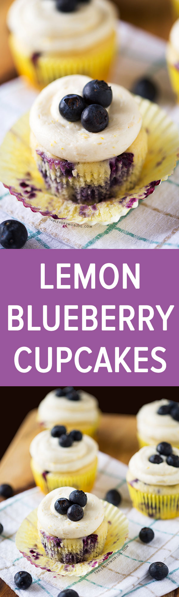Lemon Blueberry Cupcakes | www.tablefortwoblog.com