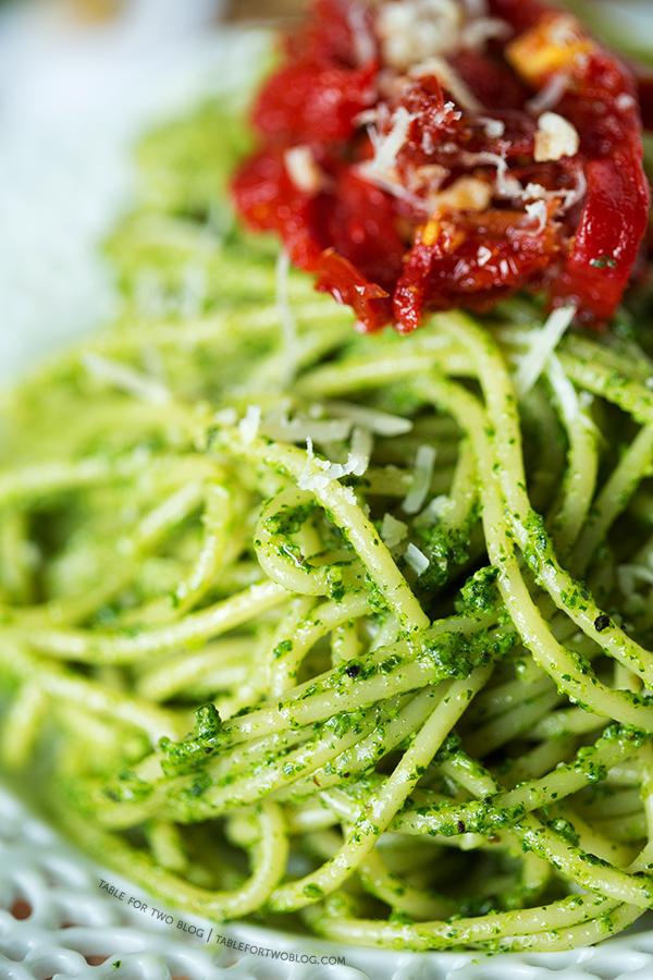 Arugula Walnut Pesto and Sundried Tomato Pasta | tablefortwoblog.com