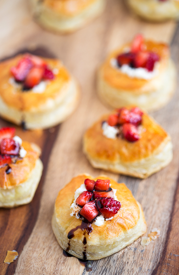 Balsamic Strawberry And Mascarpone Puffs Table For Two