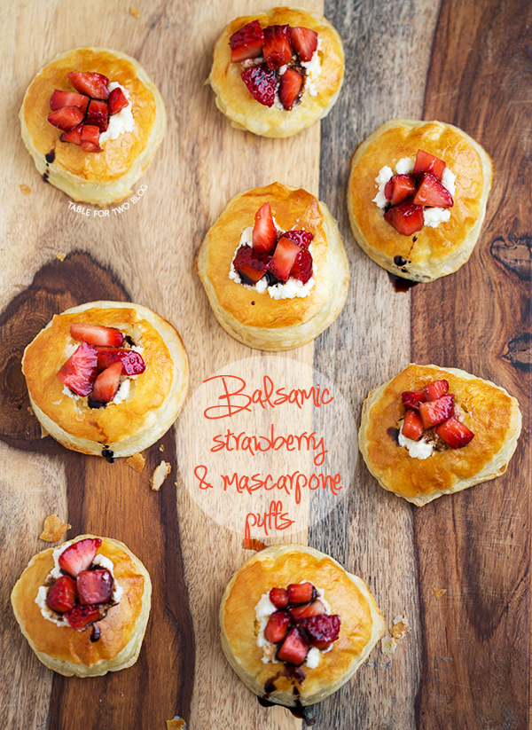 Balsamic Strawberry and Mascarpone Puffs | tablefortwoblog.com