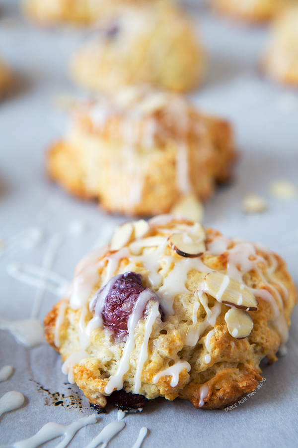 Cherry Almond Scones | tablefortwoblog.com