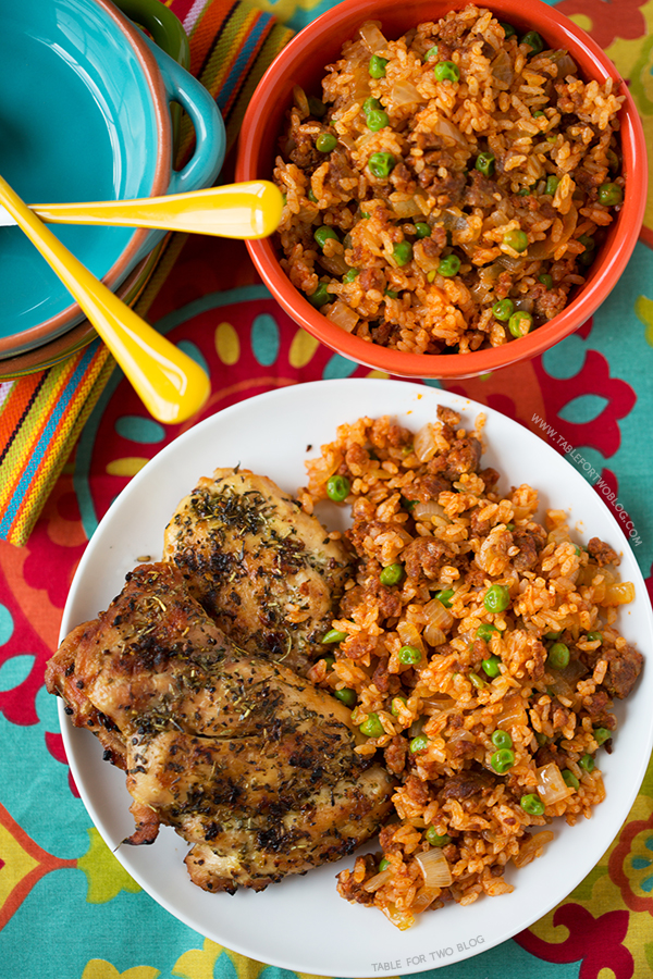 Chicken and Chorizo Rice | tablefortwoblog.com