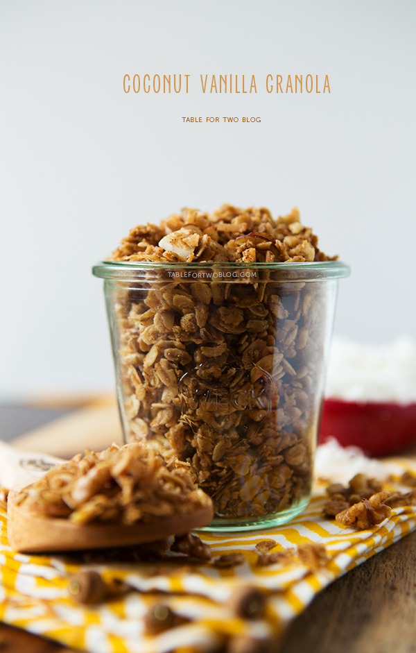 Coconut Vanilla Granola | tablefortwoblog.com