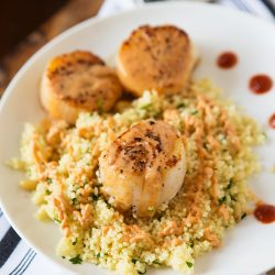 Scallops with Spicy Curry Sauce and Couscous, recipe remake of the King Kong Couscous at Silly Goose in Nashville, TN