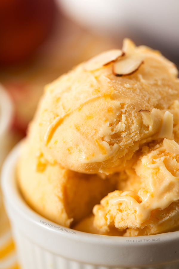 Peach and Toasted Almond Ice Cream | tablefortwoblog.com