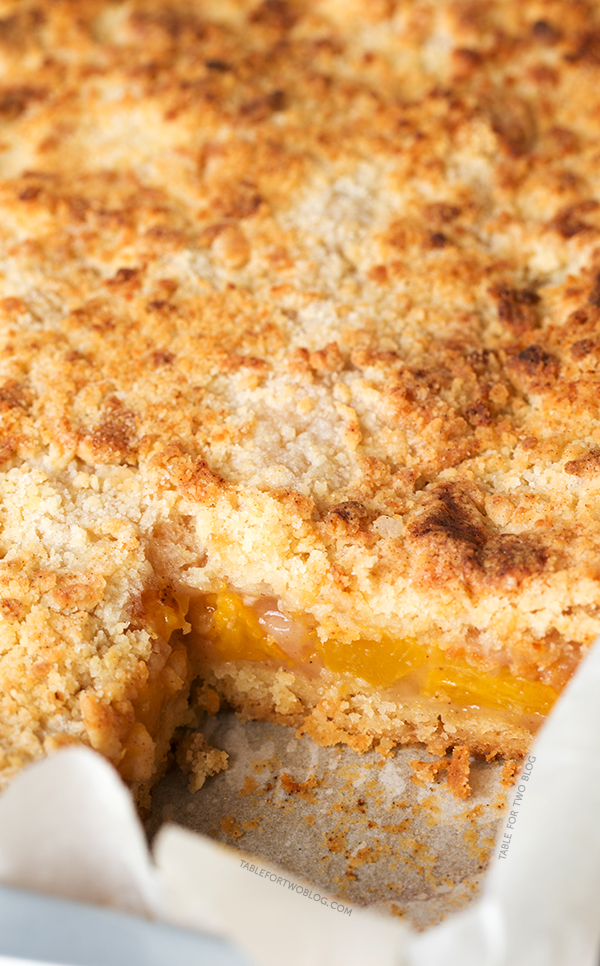 Peach Crumb Bars | tablefortwoblog.com