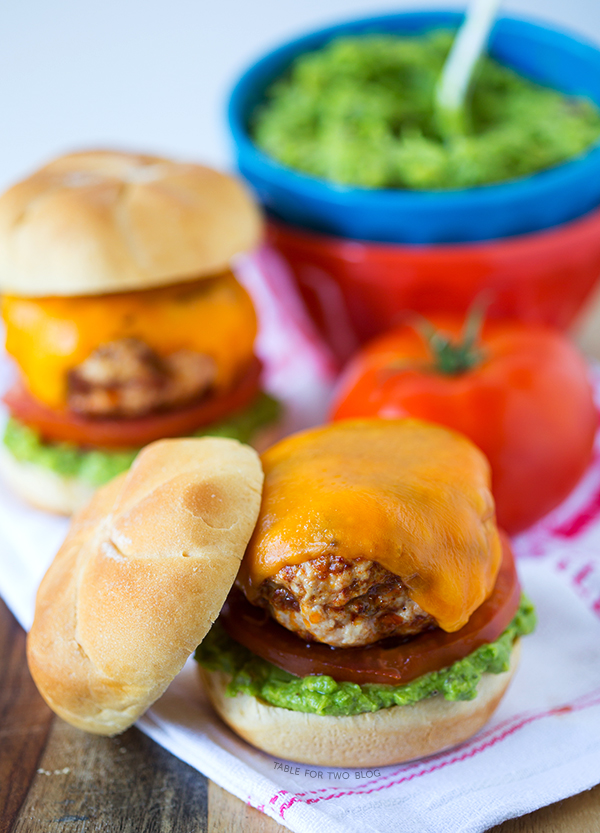 Turkey Chorizo Burgers with Guacamole | tablefortwoblog.com