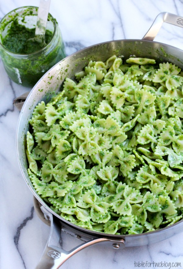 Arugula Pesto Bowtie Pasta with Goat Cheese - Table for Two