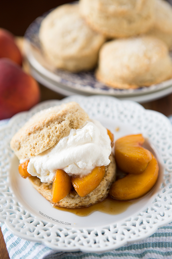 Boozy Peaches and Honey Cream Shortcakes | tablefortwoblog.com