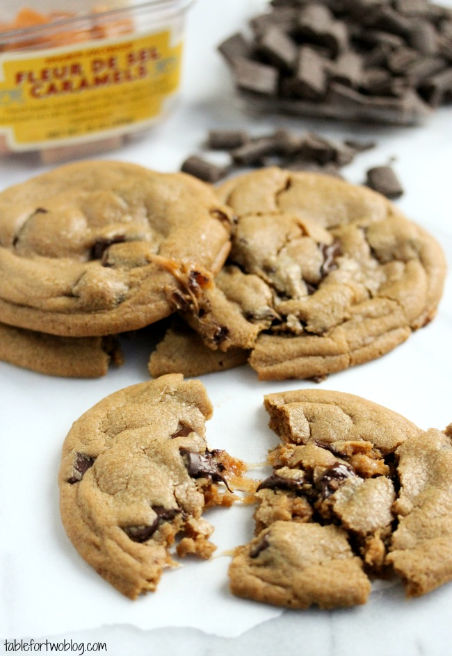 Caramel Stuffed Chocolate Chunk Cookies - Table for Two