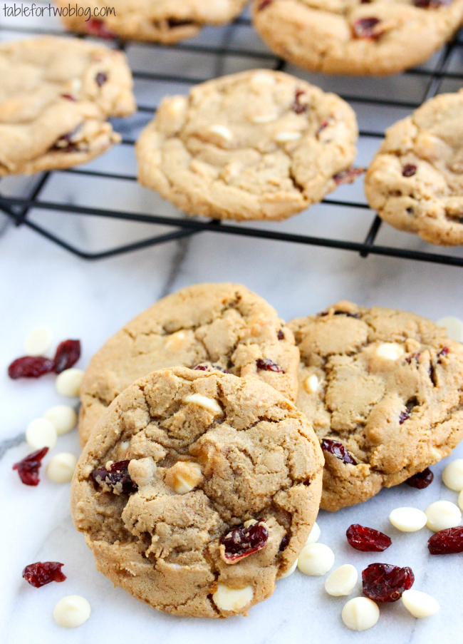 Cranberry White Chocolate Cookies - Table for Two