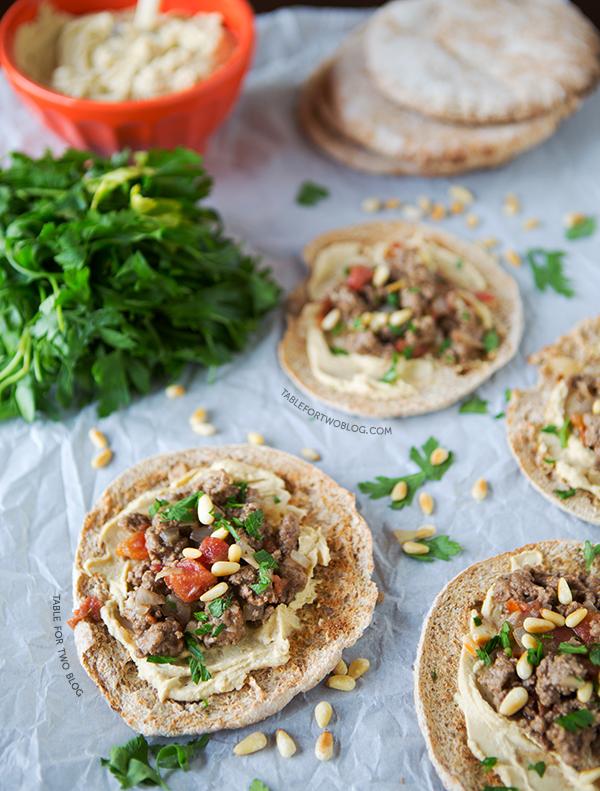 Ground Lamb and Hummus Pita Pizzas | tablefortwoblog.com