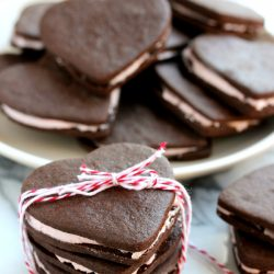 Heart Shaped Chocolate Sandwich Cookies from tablefortwoblog.com