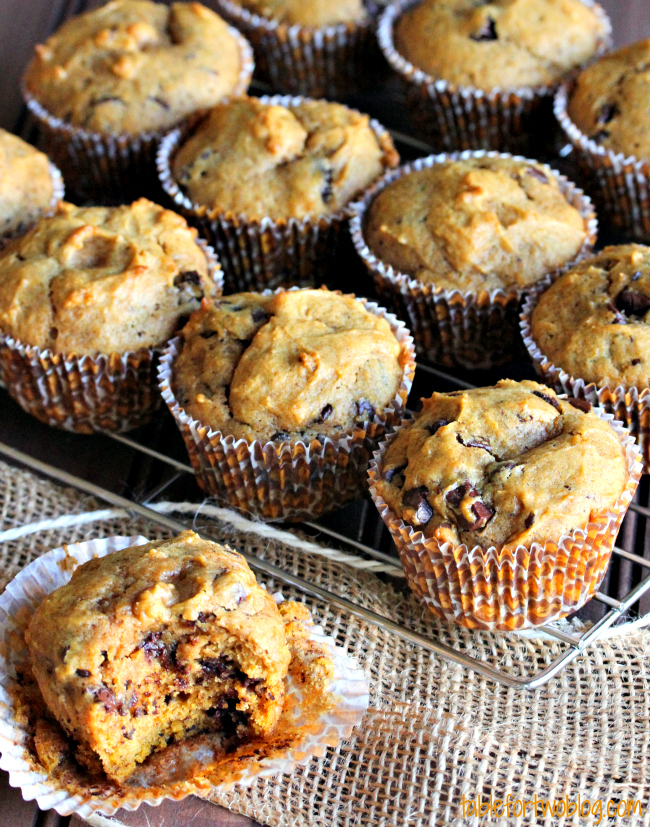 Pumpkin Spice Chocolate Chunk Muffins - Table for Two