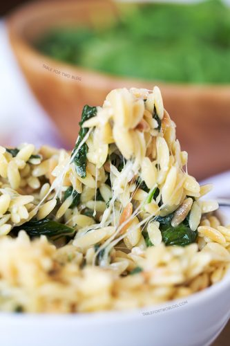 Parmesan and Spinach Orzo from tablefortwoblog.com