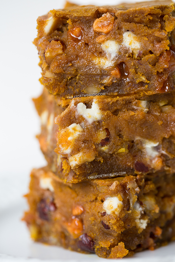 Pumpkin Blondies | tablefortwoblog.com